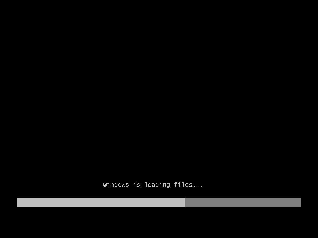 Снимок экрана (скриншот) момента загрузки файлов установки Windows 7