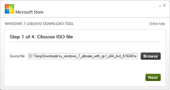 Windows7 USB/DVD Download Tool - выбор образа с установочным Windows 7