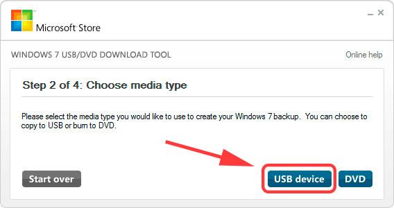 Windows7 USB/DVD Download Tool - выбор устройства, на который будет записан установочный образ