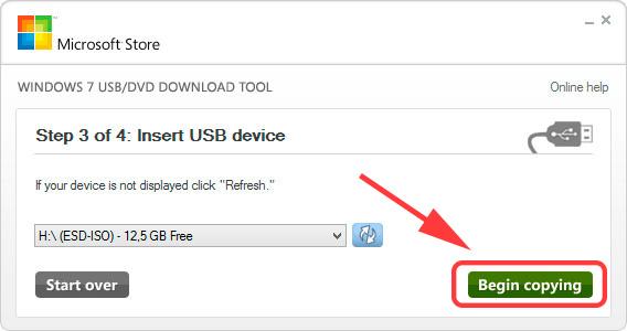 Windows7 USB/DVD Download Tool - Начать копирование установочных файлов на USB-устройство