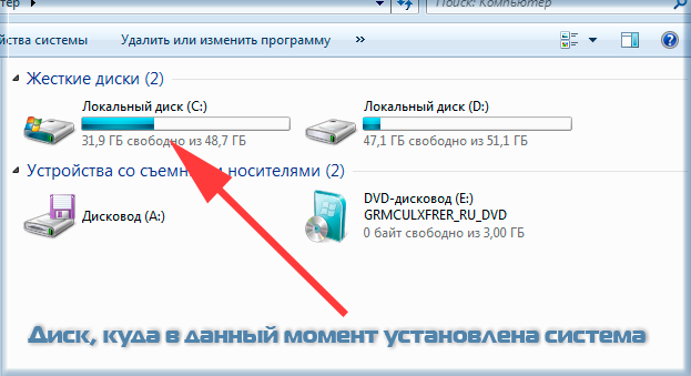 Диск с установленной Windows 7