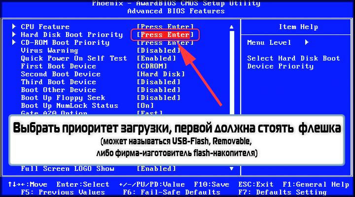 Приоритет загрузки в Phoenix BIOS